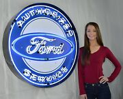 Ford Gt Authorized Service 36 Neon Sign In Solid Steel Can Eighty Pounds V8 Olp