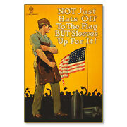 American Flag Hats Off Sleeves Up Wwi Poster Art Metal Sign Steel Not Tin 24x36