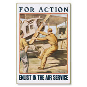 Us Army Air Service For Action Enlist Wwi Poster Metal Sign Steel Not Tin 24x36