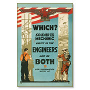 Us Army Soldier Mechanic Engineers Wwi Poster Art Metal Sign Steel Not Tin 24x36