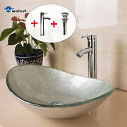 Oval Bathroom Vessel Sink Artistic Glass W/ Chrome Faucet And Pop-up Drain Combo