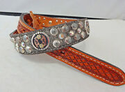 New Double J Saddlery Belt Western Hair On Leather Ab Crystals Conchos Spots 28