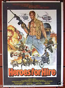 Heroes For Hire {bruce Baron} 40x27 Org. Lebanese Movie Poster 80s