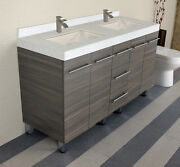 60 Inch Bathroom Vanity Cabinet Quartz Under Mount Top With Brushed Faucets