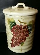 Tabletops Unlimited Cabernet Medium Canister - Excellent - Tuscan Grapes