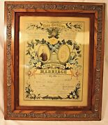 Genuine 1886 Framed Illinois Marriage Certificate By David W. Crider Beautiful