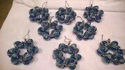 8 Large Handmade Christmas Ornaments Made With Bling Blue Silver And Teal