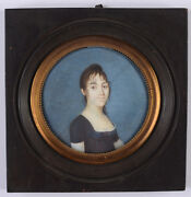 Young Lady In Black Gown, French Empire Miniature, Ca. 1805
