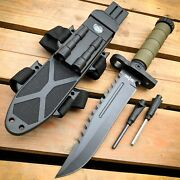 12.5 Military Army Tactical Hunting Fixed Blade Survival Knife W Fire Starter
