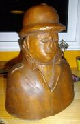 Antique Hand Carved Bust French Soldier Adrian Helmet Wwi World War One France