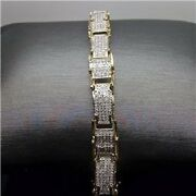 Real Menand039s 10k Yellow Gold Bracelet With Brilliant Diamond Setting 2.35ct