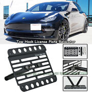 Fit 2016 And Up Tesla Model 3 Front Tow Hook Mount License Plate Relocator Bracket