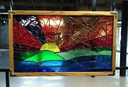 Stained Glass Abstract Sunset With Oak Frame - Signed By Artist - 25 X 16