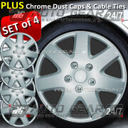 16 Silver 7 Spoke Car 4 Wheel Trims Hub Cap Covers +free Cable Ties And Dust Caps