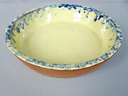 HUBERHAUS POTTERY__RARE Yellow/Blue Glaze Pie Plate, Signed__ExC__SHIPS FREE