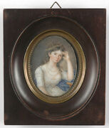 Portrait Of A Young Lady From The Directory Period, Fine French Miniature