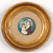 Mother With Her Little Child Fine French Swiss Miniature On 1795/1800