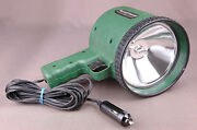 Vtg Field And Stream Car Floodlight-works, Green Camping Hiking Flashlight Outdoor