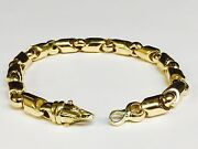 10kt Yellow Gold Handmade Fashion Link Menand039s Chain Bracelet 9.25 8 Mm 48 Grams