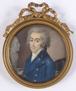 Portrait Of An Official Period Of Directory French Fine Miniature 1795/18