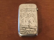 Antique Pairpoint Mfg Co. 800 Silver Match Safe Two Bears W 2 Bare Bottomed Boys