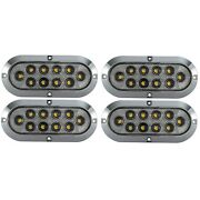 6 Oval Clear/red Stop-tail-turn Led Light Surface Mount Chrome Dot Semi Rv 4pk