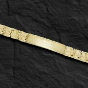 14k Solid Yellow Gold Handmade Menand039s Id Nugget Bracelet 9mm 40 Grams 8