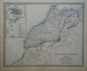1847 Genuine Antique Hand Colored Maps North Africa Or Barbary. 5 Page Set. Sduk