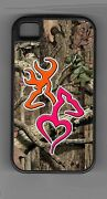 L@@k Ultimate Orange And Pink Deer Heart Camo Cell Phone Or Ipod Case Or Wallet