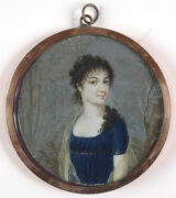 Sophie Colins-attrib. Young Lady In Landscape Fine Miniature 1800/05