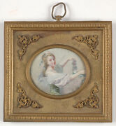 Young Woman With Garland, French La Belle Epoque, Miniature, 19th C.