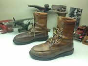 Brown Distressed Lace Up Packer Work Chore Farm Trucker Old Used Boots 11 D