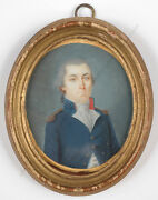 French Naval Officer Period Of Directory, Miniature, 1793/95