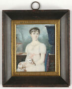 Mlle Dalila Labarchéde Fl. 1808-1826 Portrait Of A Lady With A Favorite Cat