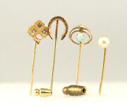 Antique Collection Of 4 Opal Pearl And Diamond Yellow And Rose Gold Stick Pins