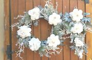 Wreath And Matching Teardrop Faux Silk White Peonies Frosted Greenery Set