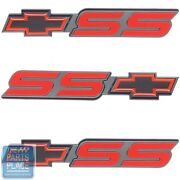 """Red And Black """"ss"""" Emblem With Chevy Bowtie Gm 15970086 Set Of 3"""