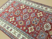 6and039.0 X 9and039.4 Red Very Fine Super Kazak Oriental Area Rug Hand Knotted Geometric