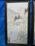 Beautiful Japanese Framed Hand Painted Tiles.