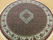6.7 X 6.7 Round Red Super Fine Quality Oriental Rug Hand Knotted Wool And Silk