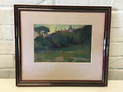 Possibly Vintage Oil Painting Landscape W/ Trees And Building In Background