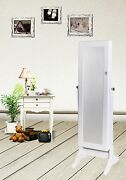 White Jewelry Armoire Mirrored Cabinet Storage Stand Rings Necklaces Bracelets
