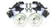 1964-72 Gm A Body 11 Disc Brake Rotors + 2 Drop Spindles And Caliper Kit Slotted