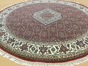 6and039.7 X 6and039.7 Round Red Ivory Fine Geometric Oriental Rug Handmade Wool And Silk