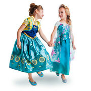 New Disney Store Frozen Fever Anna And Elsa 2-in-1 Costume Set 5/6 7/8