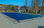 18and039x36and039 Inground Rectangle Swimming Pool Winter Safety Cover Blue Mesh 12 Year