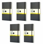 Pack Of 5 Moleskine Classic Squared Soft Cover Notebook Large 5 X 8.25-inches