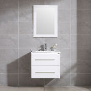 24 Bathroom Vanity Sink Set Wall Mount Floating Cabinet + Mirror And Faucet White