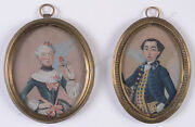Portraits Of A Young Married Couple Two American Oil Miniatures 1750/60