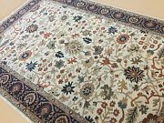 6and039 X 9and039 Beige Navy Oriental Rug Hand Knotted Wool All-over Floral Office/study